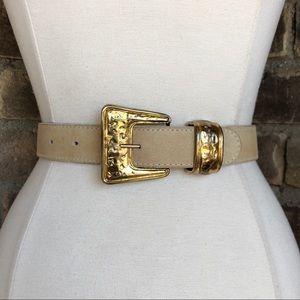Vintage Belt S Leather Off White Gold Buckle